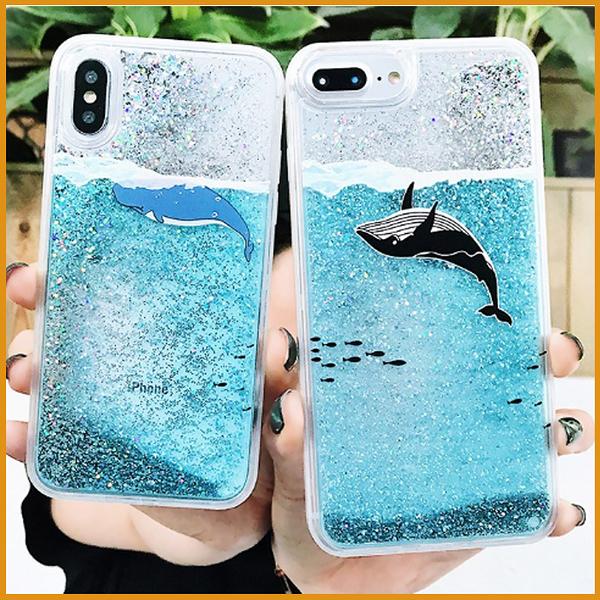 華為保護殼Y9 2019  Y7S  Y7 Prime 2018 閃粉流沙鯨魚手機殼 海豚全包邊 透明防摔水族箱