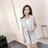 2018夏季女裝韓版亞麻無袖西裝短褲休閑OL氣質馬甲套裝 zr250『miss洛羽』