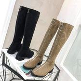 2018秋冬新款前拉鏈低跟高筒靴絨面馬丁靴女騎士靴粗跟顯瘦長靴  酷男精品館