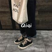 韓版學生復古帆布板鞋子Y-4186優一居