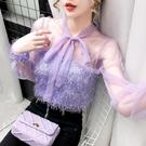 紫色仙氣上衣2020新款秋季時尚超仙設計感氣質網紗很仙的蕾絲衫女 JX4450【衣好月圓】