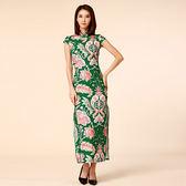 中大尺碼~顯瘦包扣立領唐裝長款旗袍短袖洋裝(M~3XL)