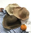(不退不換-綠色)夏季防曬可折疊編織帽草...
