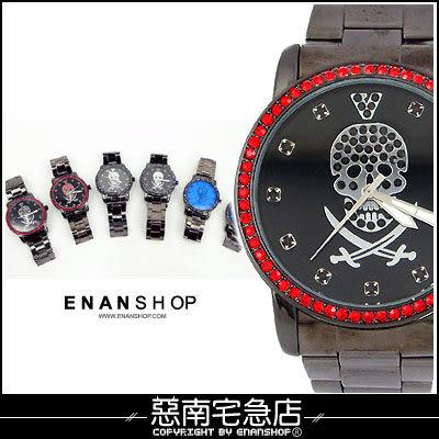 惡南宅急店【0335F】雜誌介紹、造型手錶男錶女錶『水潮流鑽骷髏』情侶對錶可‧單支價