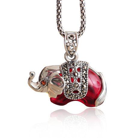飾品項鏈多用墜銀深紅色石榴石大象小象吊墜
