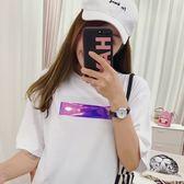 EASON SHOP GU6589 實拍 反光條英文字印花圓領短袖T 恤女上衣服落肩五分袖