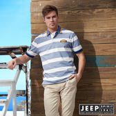 【JEEP】美式休閒百搭條紋短袖POLO衫 (藍)
