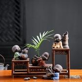 茶寵小沙彌擺件禪意小和尚可愛迷你小花插精品紫砂可養茶具配飾 居享優品