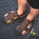 男士涼鞋真皮包頭夏季軟底沙灘鞋爸爸中老年休閒防滑老人鞋皮涼鞋【創世紀生活館】