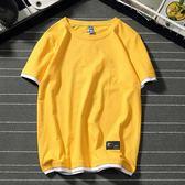 T恤韓版清新假兩件t恤男女情侶短袖衫純棉寬鬆大碼青少年百搭t恤男裝 電購3C