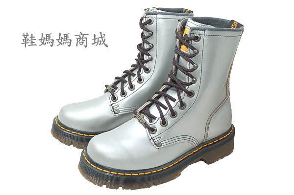 【鞋媽媽】[女]全新AE馬丁鞋*9孔中筒靴*銀灰色*真皮*防滑*ae208