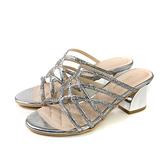 HUMAN PEACE 涼鞋 跟鞋 銀色 燙鑽 女鞋 S9-10503K06 no091