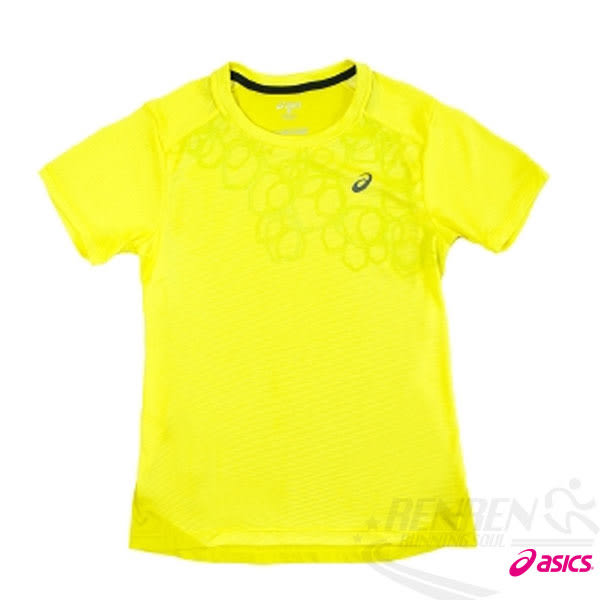 ASICS 亞瑟士 女慢跑印花T恤(螢光黃)  休閒衣 慢跑 路跑 2016最新款