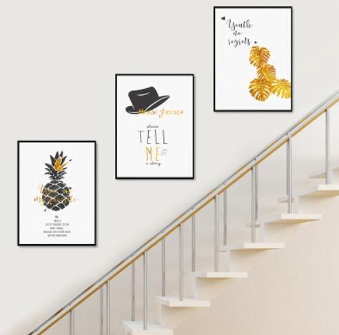 現代簡約樓梯間裝飾畫複式樓走廊走道過道樓道牆面三聯掛畫無框畫「時尚彩紅屋」