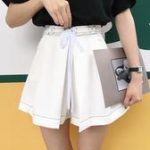女裝韓版簡約百搭高腰明線綁帶闊腿褲裙寬鬆顯瘦休閒褲短褲潮   瑪奇哈朵