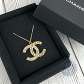 BRAND楓月 CHANEL 香奈兒 17年 菱格水鑽 雙C LOGO 金色 項鍊 飾品 配件 有掉一顆鑽
