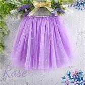 小公主~浪漫紫色珍珠雪紡網長紗裙(內有安全褲)3層紗(270233)★水娃娃時尚童裝★
