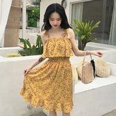女夏裝新款韓版吊帶一字領露肩連身裙