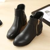 Dingle丁果大尺碼ღ簡約英倫風雙拉鍊低跟短靴*2色