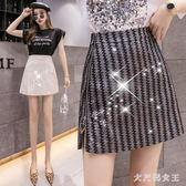 2019夏裝新款韓版高腰不規則拉鏈短裙半身裙女適合胯大腿粗的裙子 JY1901【大尺碼女王】