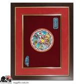 鹿港窯-居家開運商品-台灣國寶交趾陶裝飾壁飾-立體框【M玉書麒麟】