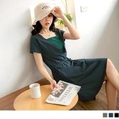 《DA8594-》含棉假兩件條紋鬆緊綁帶短袖洋裝 OB嚴選