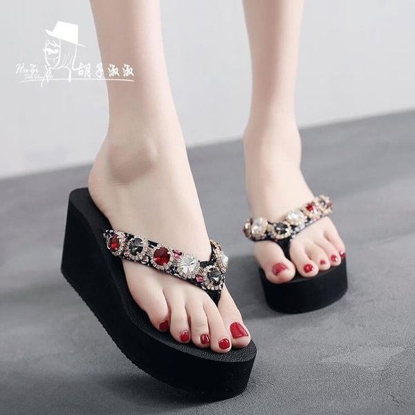 高跟厚底拖鞋女夏2021新款網紅涼拖水鉆坡跟時尚女士外穿人字拖潮『潮流世家』