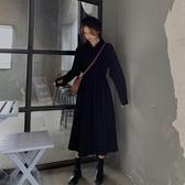 長袖洋裝長款裙子復古長袖襯衫裙秋季氣質裙子黑色連身裙女中長款秋冬長裙 交換禮物