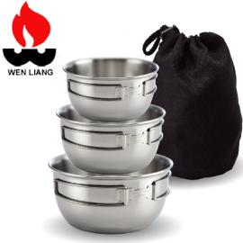 【Wen Liang 文樑 不鏽鋼碗 三件組】ST-2020-2/鍋具/餐具/登山露營/野餐/三件組