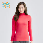 【WIWI】MIT溫灸刷毛立領發熱衣(朝陽紅  女S-2XL)