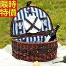 野餐籃餐具組合編織籃子-半橢圓兩人套組郊遊用品68e18【時尚巴黎】