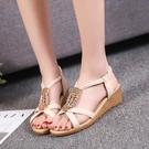 沙灘鞋 鞋子女坡跟涼鞋女2021夏季新款韓版時尚百搭波西米亞沙灘平底女鞋 歐歐