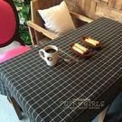 桌巾 田園防水棕黑格子桌布圓桌