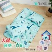 (現貨)天絲材質 專利吸濕排汗夏季涼被睡墊童枕3件組 嬰兒床墊 睡袋【附提袋】-動物草原