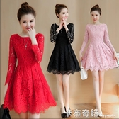 春秋新款女裝中長款長袖蕾絲洋裝修身顯瘦禮服裙子 卡布奇諾