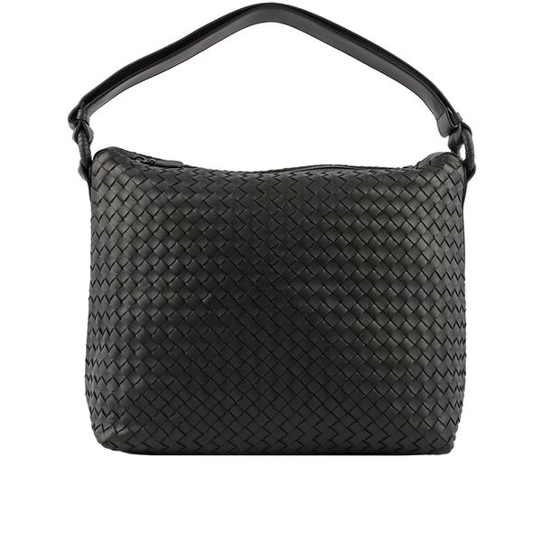 【BOTTEGA VENETA】Intrecciato小羊皮編織可調肩帶肩背包(黑色) 369618 V0016 8175