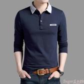 polo衫長袖t恤男士純棉中青年加厚翻領秋衣上衣外穿帶領中年polo衫 交換禮物