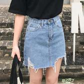 夏高腰牛仔短裙女不規則破洞薄款大尺碼A字半身裙學生百搭  快速出貨