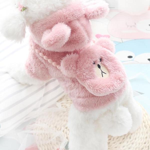 秋冬網紅可愛毛茸背熊冬裝棉衣寵物泰迪比熊博美四腳小型犬狗衣服 樂活生活館