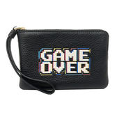 【COACH】電玩GAME OVER英文牛皮手拿包零錢包(黑)