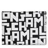 【南紡購物中心】LONGCHAMP LE PLIAGE LGP系列滿版字母名片夾(黑X白)