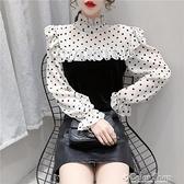 荷葉邊拼接打底襯衫女2020秋冬新款洋氣時尚波點襯衣百搭絲絨上衣 快速出貨