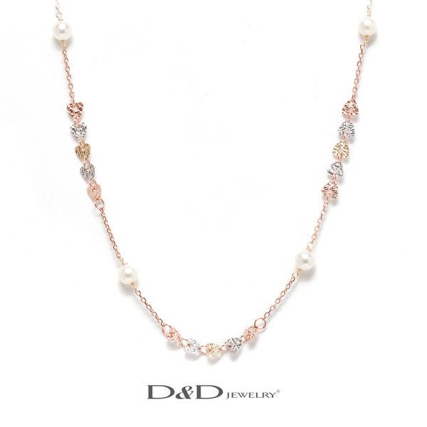 輕奢珠寶系列~ 585K天然珍珠三色項鍊 ♥