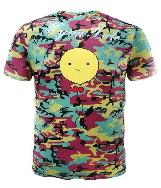 日系流行時尚迷彩笑臉圖案短袖T恤 特色短T