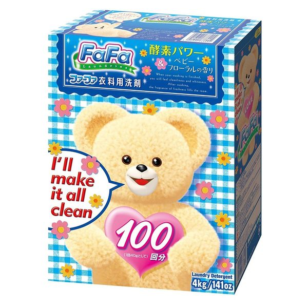XXXL超大容量4公斤 日本原裝 Nissan FaFa 小熊 酵素 強效 柔軟 洗衣粉 4kg