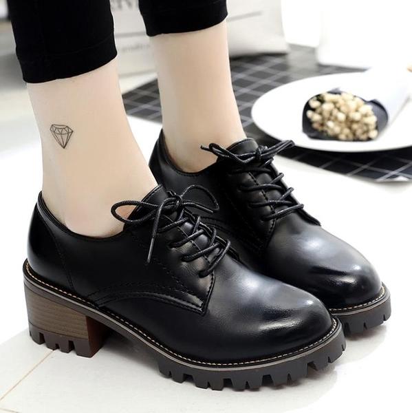 英倫皮鞋 2020新款春季單鞋女英倫zipper鞋軟妹chic小皮鞋正韓百搭女鞋【快速出貨】