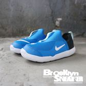 Nike LIL SWOOSH 藍黑 白底 襪套式 休閒鞋 小童 (布魯克林)  AQ3113-401