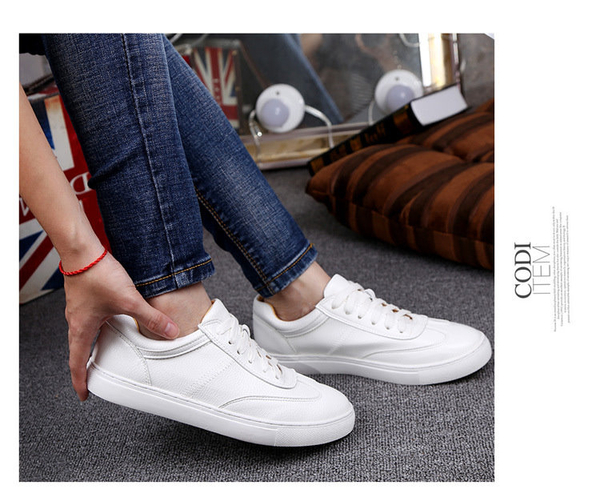 大尺碼女鞋41-46【現貨】凱莉密碼 明星同款百搭柔軟真皮小白鞋綁帶休閒鞋2cm【DAC2】