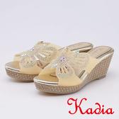 kadia.華麗蝴蝶水鑽楔型厚底拖鞋(9605-28黃色)