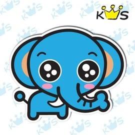 【收藏天地】防水防曬*安全帽 汽機車 萬用貼-藍色小象(小)